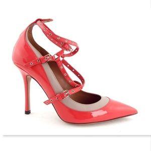 Unworn VALENTINO Passion Pink Patent Strap Pump 37